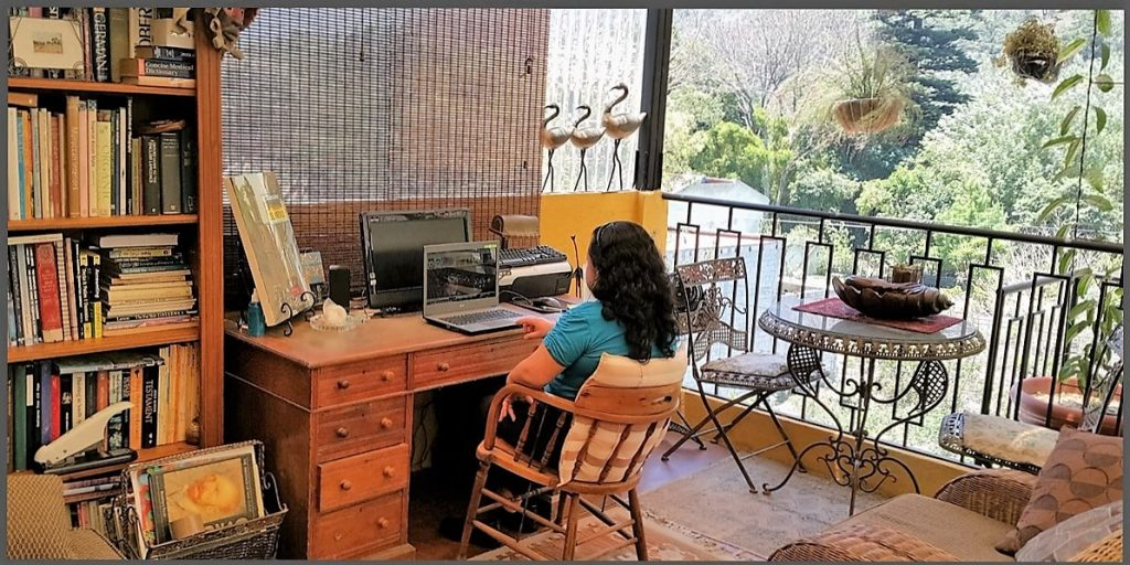"""Monica in her """"office with a view"""""""